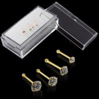9K amarillo sólido hueso de la nariz de oro Ronda Jeweled en el recuadro