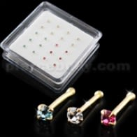 Clear,Aqua and Pink Color 14K Gold Ball End Nose Pins in Mini Box