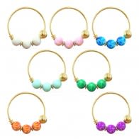 14K Yellow Gold Opal Stones Hoop Nose Ring