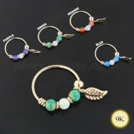 9K Yellow Gold Opal Stones with Leaf Hoop Nose Ring