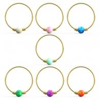 14K Yellow Gold Spring Coil end with Opal Stone Hoop Nose Ring