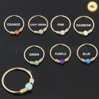 final 9K Ouro Amarelo primavera helicoidal con Opal Stone Hoop anel de nariz
