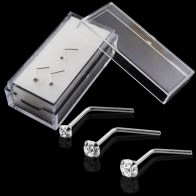 9K Solid White Gold L-Shaped Jeweled Nose Stud in Box