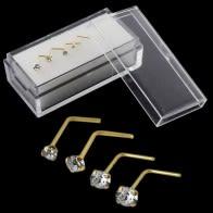 9K Kieto Yellow Gold L-formos Tikras kristalų Nosis Stud intarpe