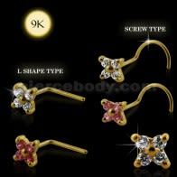 Stud Nose 9K ouro 4 Stone Flower