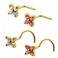 9K Gold 4 Stone Flower Nose Stud