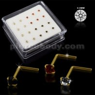 Clear,Black and Red Color 14K Gold L-Shape Nose Pins in Mini Box