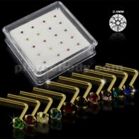 10 Mix Colors of 9K Gold L-Shape Nose Pins in Mini Box