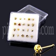Assorted 9K Gold Ball End Nose Studs in Mini Box