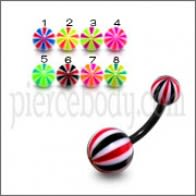10mm UV Belly Banana Bar Ring Body Jewelry With Multi Lines Colorful UV Balls