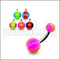 SS Belly Curved Bar With Pink Glittered UV Balls