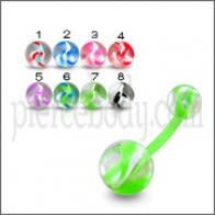 Acrylic UV Curved Bar Navel Ring With Mix Color UV Balls