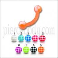 Orange UV Eyebrow Banana Ring With Multi Color UV Balls