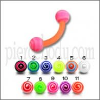 Orenge UV Eyebrow Banana Ring with Pink UV Circle Print Balls