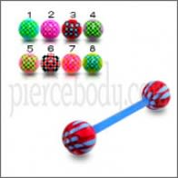 Blue UV Eyebroe Lip Barbell with Mix Color UV Balls
