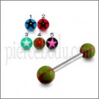 SS Tongue Barbell with Dark Green UV Red Star Print Balls Body Jewelry
