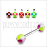 SS Tongue Barbell con Mix UV Impresión colorido bolas Body Jewelry