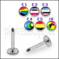 SS Labret with 4mm Multi Color Logo Ball
