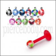 Multi Colored UV active Ball Tongue Ring Barbell