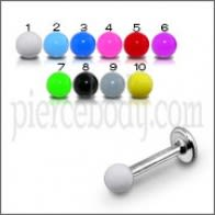 SS Labret Body Jewelry Ring With Single Color UV Fancy Balls