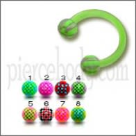 Green Color Bio Flexible Bar UV Horseshoe Eyebrow Circular Barbells