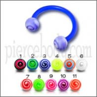 Blue UV Circular Barbell with Mix Color UV Balls