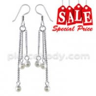 Fancy Sterling Silver Dangling Costume Earring