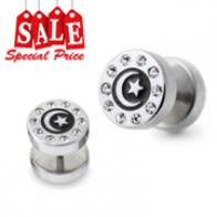 SS Jeweled Moon Star plug de orella falsificada
