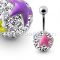 White Crystal Stone Jeweled Enamel Print Star Navel Ring Body Jewelry