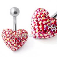 Red With White Crystal stone Heart SS Curved Bar Belly Ring FDBLY633