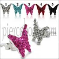 925 Sterling Silver Crystal Papiyon èarin