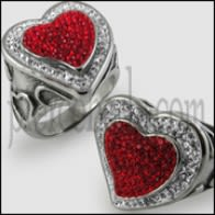 Crystal Twin Heart Finger Ring