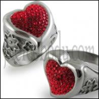Multi Crystal Heart Finger Ring