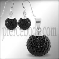 Black Crystal Stone Silver Jewelry Earring Pendant Set