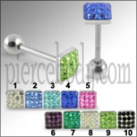 SS Tongue Barbell With Square Crystal Top