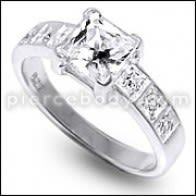 CZ Pricess Poukisa Jeweled Alamòd Silver Finger Ring