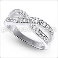 BF2U multikouch Fashion Crystal Band Ring Finger Silver