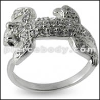 Jeweled lezar Fashion Silver Ring