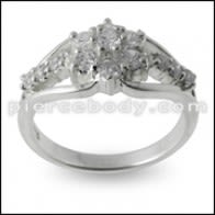Multi CZ Jeweled Fashion Silver bann Dwèt