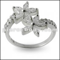 Jeweled alamòd flè Silver Ring
