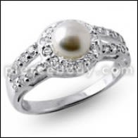 Multi Jeweled Fashion Pearl kloute Silver Ring