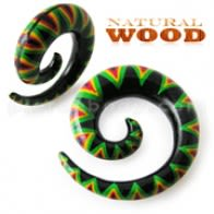 Snake Color Painted Green Spiral Wood Ear Expander
