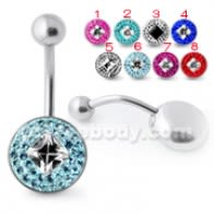Multi Crystal stone Banana Bar Belly Ring