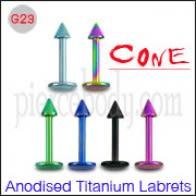 G23 Grao anodizado titanio Labrets con cono