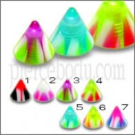 Mixed Color UV Fancy Cones Lip Chin Bar Labrets
