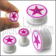 Embossed Fushia Star Silicone Ear Plug