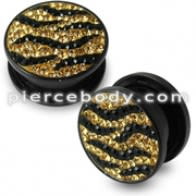 Zebra Design Crystal Stone Ear Flesh Tunnel