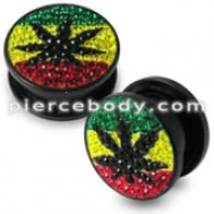Rasta Marijuana Crystal stone UV  Flesh Tunnel