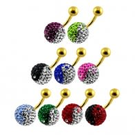Crystal Stone Jeweled SS Gold Anodized Belly Ring AFDBLY03