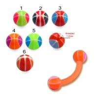 Orange UV Assorted Color  Banana with 3MM UV BasketBall Ball Eyebrow